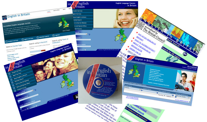 Collage of English in Britain homepages from earlier years